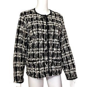 JM Collection Black White Knubby Tweed Jacket